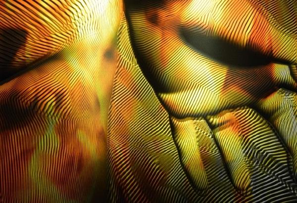 Gracias al trabajo del artista visual Franc Aleu, el visitante es absorbido por un contundente juego de paneles de metacrilato (reproducciones luminosas) que encarnan distintas partes del cuerpo en los que descubrir la forma de una mano, una oreja, una cara, un torso…