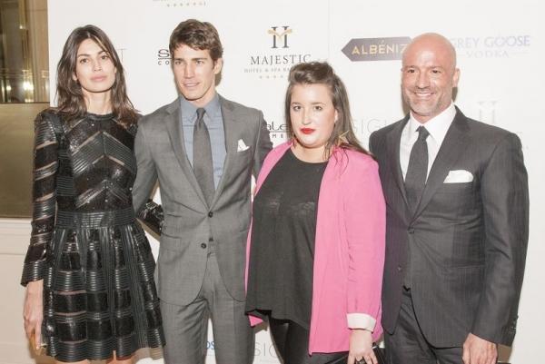Los anfitriones de la fiesta Maite Albéniz y Eduardo Sayas junto a los top models Oriol Elcacho y Davinia Pelegrí
