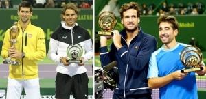 Novak Djokovic, Rafa Nadal, Feliciano López y Marc López