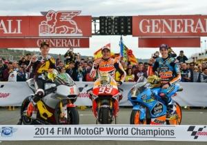 Tito Rabat en Moto2, Márc Márquez en Moto GP y Álex Márquez en Moto3 son los campeones del mundo 2014 de Motociclismo