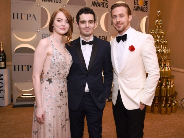 Emma Stone, Damien Chazelle y Ryan Gosling