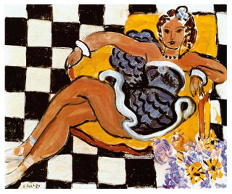 """Danseuse dans le fauteuil, sol en damier"""" de Henri Matisse"""