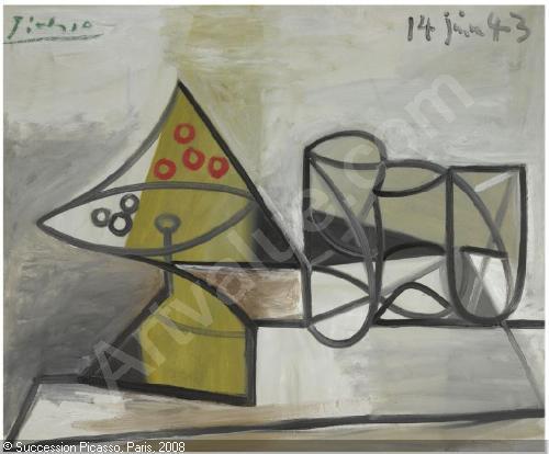 Compotier et verres, Pablo Picasso